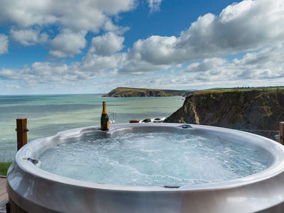 Hot tub lodges with a view in south Wales